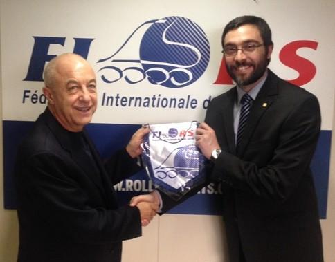 Sabatino Aracu - Presidente FIRS,  Paulo Ferreira - Diretor de Esportes FISU