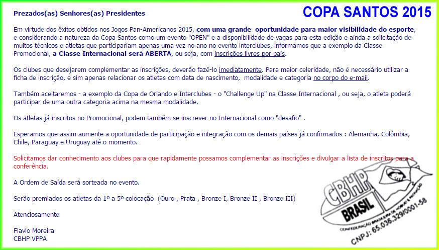 Classe Internacional será Aberta na Copa Santos 2015