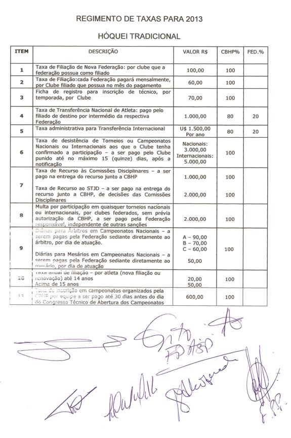 Regimento de Taxas - Hóquei Tradicional