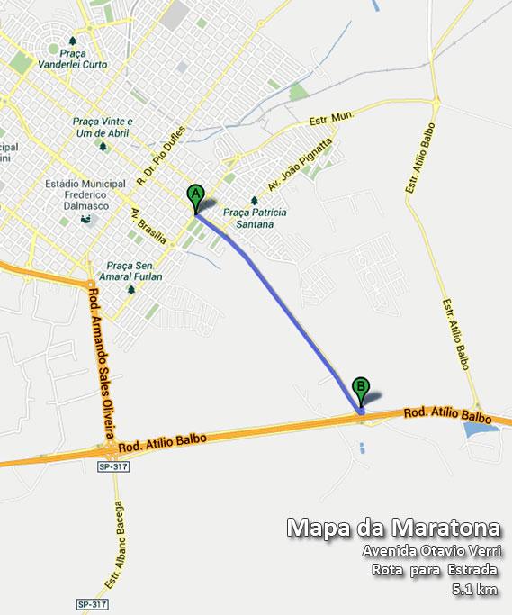 Mapa da Maratona - 5,1 Km