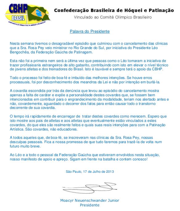Palavra do Presidente (Julho 2013)