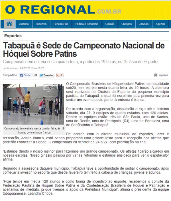 Jornal O REGIONAL - http://www.oregional.com.br/2013/07/tabapua-e-sede-de-campeonato-nacional-de-hoquei-sobre-patins_303240