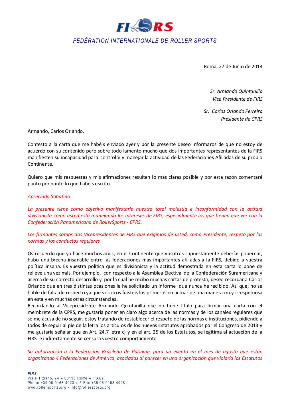 Carta del Presidente FIRS-1-4