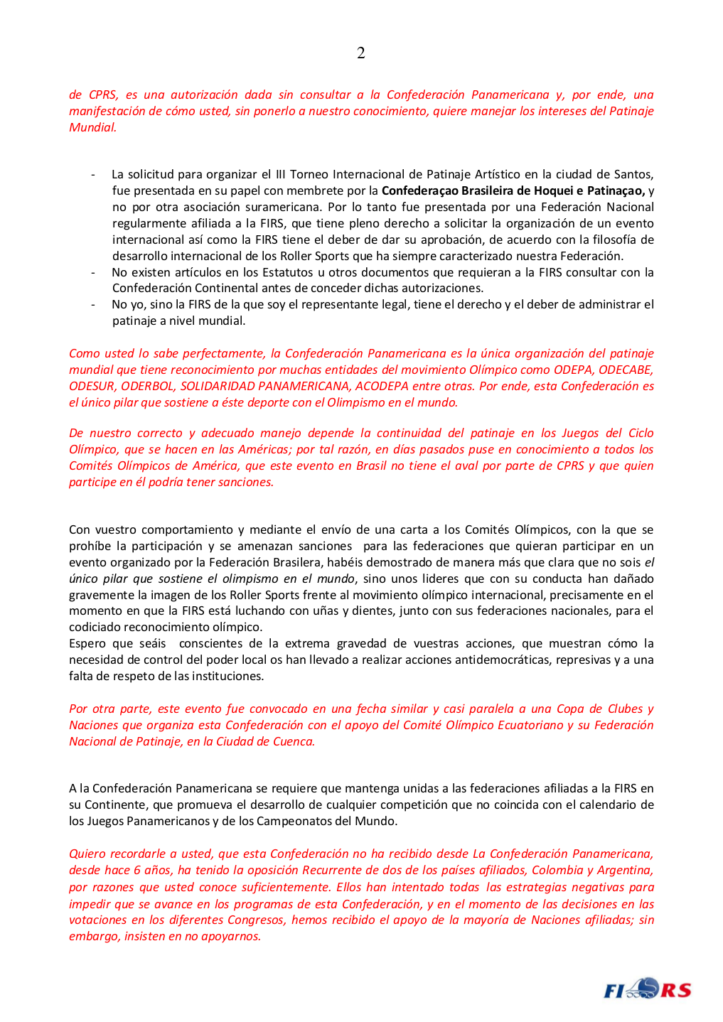 Carta del Presidente FIRS-2-4
