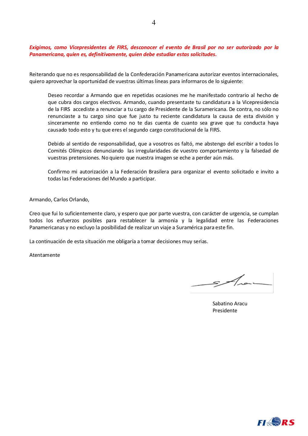 Carta del Presidente FIRS-4-4