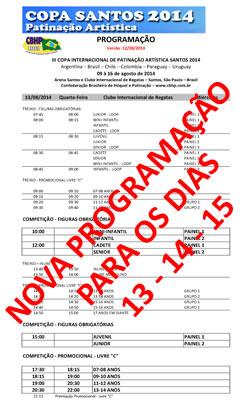 NOVA PROGRAMAÇÃO DE 13 A 15/8