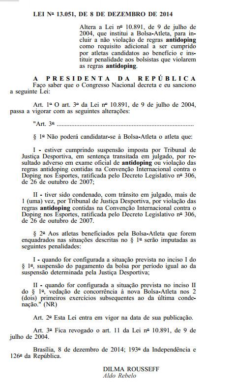 LEI No 13.051, DE 8 DE DEZEMBRO DE 2014