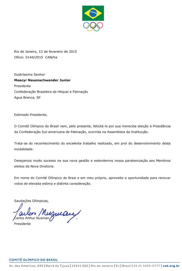 COB parabeniza o novo presidente da Confederação Sul-Americana de Patinação