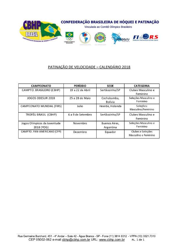 Calendario 2018 Brasil.Calendario E Regimento De Taxas 2018 Patinacao De