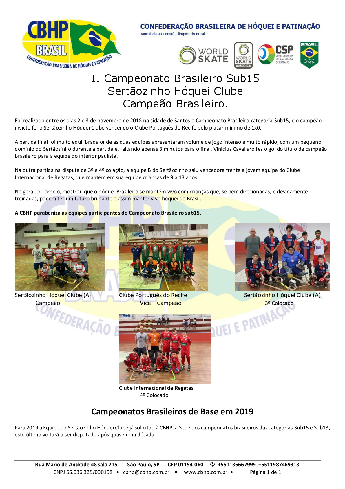 Campeonato Brasileiro de Hóquei Tradicional Sub-15 2018 – Classificação  Final 24705ce040186