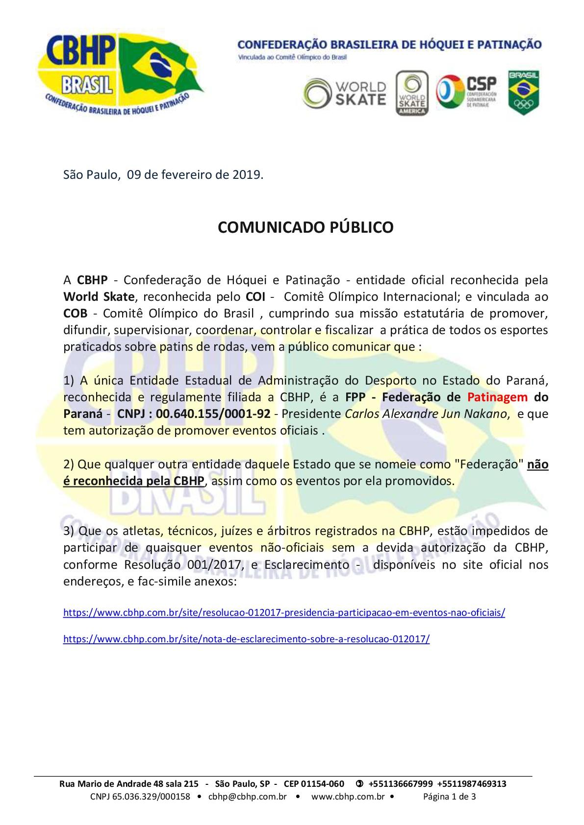 Comunicado Público - Federação Oficial de Hóquei e Patinação no Paraná