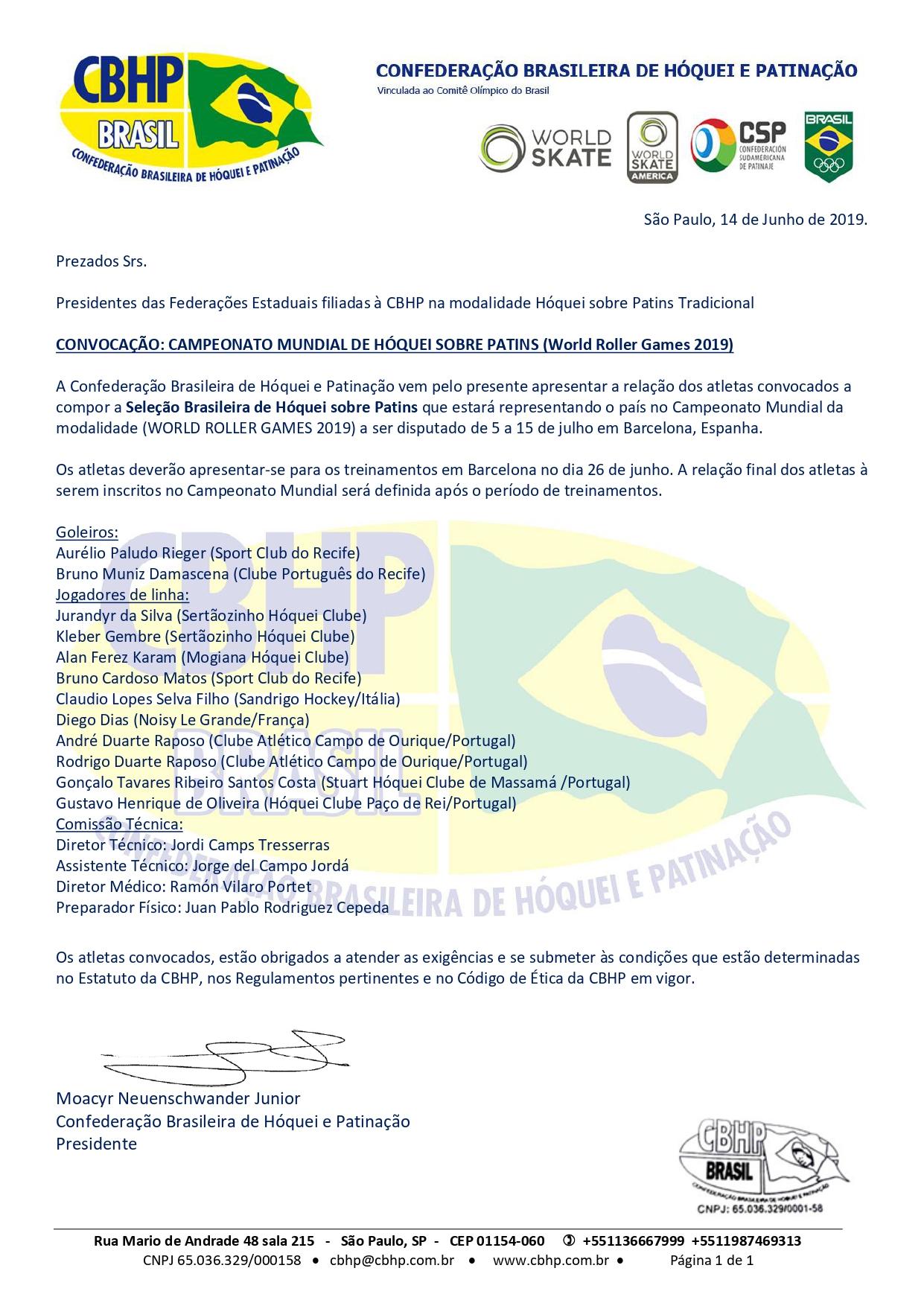 Convocação Hóquei Tradicional Mundial 2019